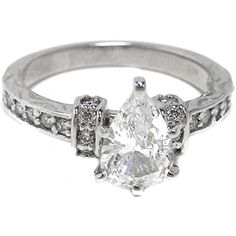 Pear Shaped Diamond Engagement Ring with Sidestones
