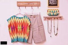 Tenun Rangrang shirt and bag Kebaya Brokat, Kebaya Dress, Batik Kebaya, Batik Dress, Ikat Pattern, Textile Patterns, Textiles, Day Dresses, Cute Dresses
