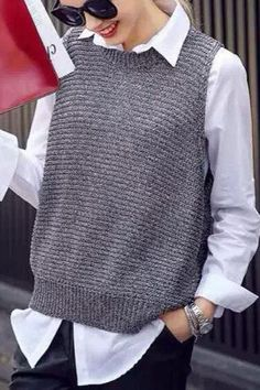 Discover thousands of images about Grey Round Neck Sleeveless Pullover Sweater Ärmelloser Pullover, Pullover Sweaters, Knit Vest Pattern, Knit Patterns, Crochet Shirt, Knit Crochet, Moogly Crochet, Knitting Stitches, Hand Knitting