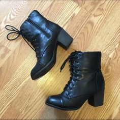 Lace Up Boots Lightly worn black lace up boots. Not from brand listed - only used as exposure. Steve Madden Shoes Combat & Moto Boots