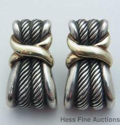 14k Gold Sterling Silver David Yurman Pierced Earring Pair #DavidYurman #Huggie