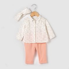 3-Piece Outfit, 1 Mth-3 Yrs R baby : price, reviews and rating, delivery. This 3-piece outfit comprises a cotton blouse and cotton twill headband and trousers. Long-sleeved rainbow print blouse. Button fastening under placket at the front. Buttoned cuffs. Trousers with press-stud fastening and waist adjusted by buttoned elastic inside. Turn-ups at the hem. Silver-coloured pocket trim. Matching headband. Blouse: 100% cotton. Headband and trousers: 100% cotton twill. KEEP AWAY FROM FIRE.