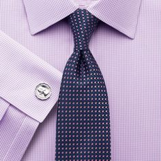 Lilac twill puppytooth non-iron slim fit shirt