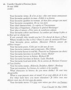 Camille Claudel . Transcription de ses réponses au questionnaire dit de Proust.