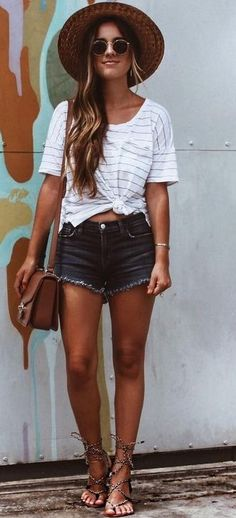 #summer #lovely #outfits | Stripe Top + Denim Shorts