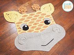 Rusty the Giraffe Safari Animal Rug PDF Crochet Pattern Crochet pattern by Ira Rott Crochet Carpet, Crochet Home, Crochet For Kids, Crochet Mat, Crochet Diagram, Crochet Patterns, Crab Stitch, Animal Rug, Knit Rug