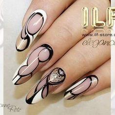 ♡ ILF Cover nude beige, Colourgels Glamour Chifón, Pure Black and Pure White, Sealer GlossBF   www.ilf-store.de  #ivonne_retz #ilfnails #nailart #naildesign #gelpainting #gelnails #nailstagram #instanails #nails2inspire #nails #longnails #nailmaster