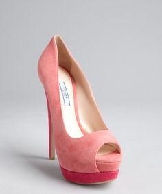 Prada Pink Two Tone Suede Platform Peep Toes