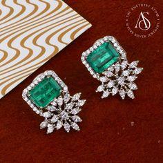 Emerald Jewelry, Diamond Jewellery, Silver Jewellery, Diamond Studs, Diamond Earrings, Gold Earrings Designs, Jewellery Designs, Ear Cuff Jewelry, Tiny Earrings