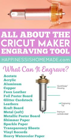 Circuit Crafts, Circuit Projects, How To Use Cricut, Cricut Help, Cricut Blades, Circuit Machine, Engraving Tools, Metal Engraving, Cricut Explore Projects