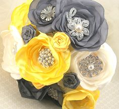 Brooch Bouquet  Wedding Bouquet in Yellow, Steel Gray and Ivory with Handmade Flowers and Brooches. $400.00, via Etsy.