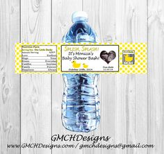 Yellow Ducky Baby Shower Water Bottle Label by GMCHDesigns on Etsy