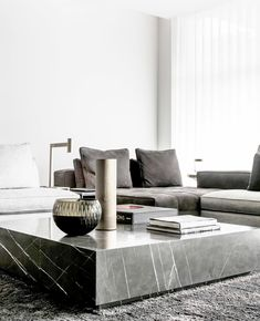 Minimalist Home Interior Grey marble coffee table and a Minotti sectional sofa. Photography by Thomas De Bruyne Marble by Il Granito Home Interior Grey marble coffee table and a Minotti sectional sofa. Photography by Thomas De Bruyne Marble by Il Granito Couch Table, Table And Chair Sets, Coffee Table For Sectional, Sectional Sofa, Center Table, Deco Design, Home Furniture, Furniture Dolly, Italian Furniture