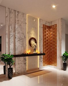 Home Altar Design For Living Room - Home Ideas Design Hall, Altar Design, Lobby Design, Entrance Design, Decoration Hall, Home Entrance Decor, House Entrance, Entryway Decor, Modern Entryway