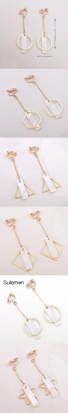 Geometry Pendant Earing No Pierced Shell Metal Pendants Long Tassel Chain Clip On Earings  For Women Girl Fashion Simple Jewelry