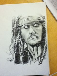 Pen sketch of Captain Jack Sparrow (Johnny Depp)