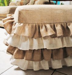 Burlap Ottoman Cover- Cute for the Shabby Chic Home Burlap Ottoman, Ottoman Slipcover, Ottoman Cover, Slipcovers, Burlap Chair, Burlap Bedding, Burlap Fabric, Burlap Ribbon, Burlap Projects