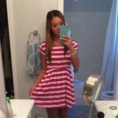 Nwot! Gap Mauve Striped Pocket Dress