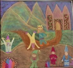 Board drawing of the Four Processes math story of the king's gnomie helpers; Ella Equals, Tabitha Times, Delilah Divide, Miles Minus and Peter Plus by Kim Stuart, Roseway Waldorf school, KZN , South Africa