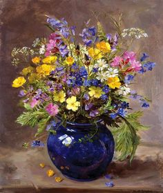 Wild Flowers in a Blue Vase, by Anne Cotterill ~ Signed Print from the Painting by Mill House Fine Art . Arte Floral, Flower Vases, Flower Art, Flowers In A Vase, Blue Flowers, Fall Canvas Art, Oil Painting Flowers, Painting Clouds, Drawing Flowers