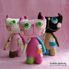 Crochet cat  pattern by VendulkaM on Etsy, Etsy Store SHout Out!  I absolutely love her designs. So colorful, cheerful and totally adorable!