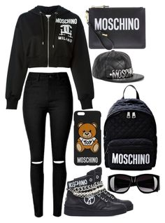 """Black and silver moschino"" by musicmelody1 on Polyvore featuring Moschino"