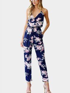 Cross Front V-neck Random Floral Print Jumpsuit in Blue