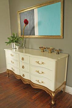 Gold Dipped French Provincial Dresser by HayleonVintage on Etsy