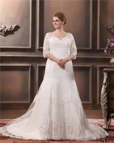 Pizzo applique perline Scollo a V Plus Size abito abito da sposa