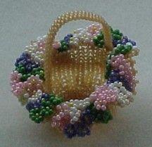 Miniature May basket, Sova Enterprises Seed Bead Flowers, French Beaded Flowers, Seed Beads, Seed Bead Patterns, Beading Patterns, Beading Projects, Beading Tutorials, Seed Bead Crafts, Beaded Boxes