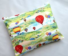 The Perfect Toddler Pillow ... Original Design by Sew Cinnamon ...Hot Air Balloons Multi Colored Landscape Scene on Smooth Cotton