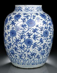 A large blue and white 'Lotus' jar, China, Wanli period