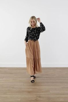 Modest Clothing, Beige Elastic Polka dots Skirt, Modest Clothes Modest Skirts, Modest Outfits, Modest Fashion, Skirt Fashion, A Line Skirts, Short Skirts, Modest Clothing, Swiss Dot, Polished Look