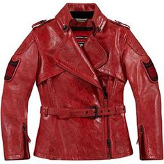 Icon Women's 1000 Federal Jacket in Red. $600.00 Hand cut, machine sewn. D3O® certified elbow and shoulder impact protectors + D3O® CE viper certified back protector. Custom oversized zippers.