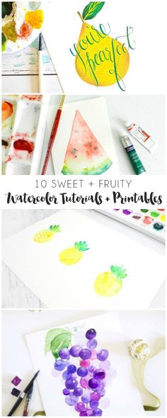 10 Watercolor Fruit Tutorials + Printables