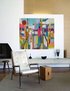 Bold colorful large Abstract art oil painting by fine artist Danielle Nelisse interior design  | large abstract artwork is bold statement | acquire oil painting on  wrapped high quality canvas