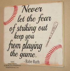 Baseball Sign Baseball Decor Baseball Quote Wooden Baseball Sign Babe Ruth Quote Baseball Wall Decor Never Let Fear Keep You - Cohen Baby Name - Ideas of Cohen Baby Name - Baseball Decor Baseball Sign Baseball Quote Wooden by DeenasDesign Baseball Wall Decor, Baseball Signs, Baseball Crafts, Baseball Quotes, Boys Baseball Bedroom, Baseball Mom, Baseball Nursery, Baseball Games, Baseball Canvas