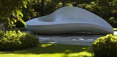 Canadian Sculptor Marie Khouri's Furniture.  Le Blanc Sculptural Bench (concrète).