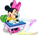 Alfabeto animado de personajes Disney con letras de colores.