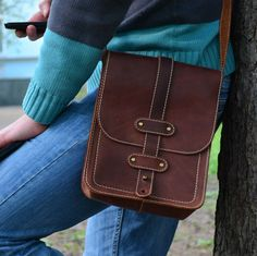 Leather Crossbody Bag  Leather Bag  Leather Tablet by Babak1995
