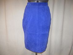 NWT Vintage 80s Electric Blue Genuine Suede Knee Length Pencil Straight Skirt Small 6