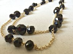 Black and Gold Necklace, Layering necklace, Two Strand Necklace, Black beads, Gold chain, Faceted beads, Elegant, Wedding, Chic, Handmade on Etsy, $68.00