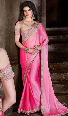 All of this accenting the feminine attractiveness, with this rose pink chiffon saree. The ethnic lace & resham work at the clothing adds a sign of attractiveness statement with your look. #pinksaree #pinkchiffonsari #sarees