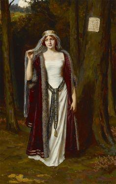 Abbey Altson - A message for her lover Medieval Art, Renaissance Art, Images Esthétiques, John Everett Millais, Pre Raphaelite, Old Paintings, Traditional Paintings, Classical Art, Woman Painting