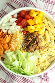 Doritos Locos Taco Pasta Salad Rotini Pasta Recipes, Taco Salad Recipes, Cucumber Recipes, Taco Ingredients, Salad Sauce, Summer Side Dishes, Yummy Chicken Recipes, Stuffed Sweet Peppers, Side Salad