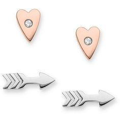 Fossil Heart And Arrow Earring Set ($30) ❤ liked on Polyvore featuring jewelry, earrings, accessories, heart earrings, heart shaped earrings, heart jewelry, fossil jewelry and fossil earrings