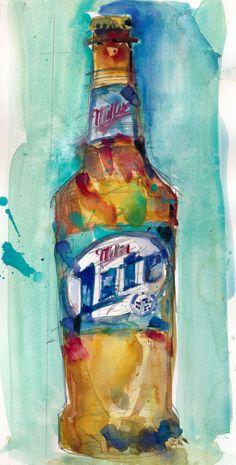 #Miller #Lite #Beer  Original Watercolor Print Size  8.5  by dfrdesign, $23.00