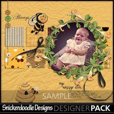 Enjoy these bright crafts by #SnickerdoodleDesigns @myememories.com #Craft #Digital #Creative #Scrapbook #Honeysuckle_and_honeybees-1