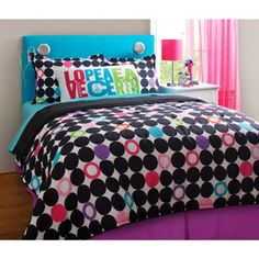 your zone color block dot reversible bedding set with statement pillowcase