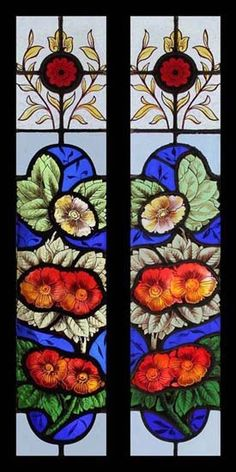 RARE BEAUTIFUL PAINTED FLORAL PAIR VICTORIAN STAINED GLASS WINDOWS   eBay
